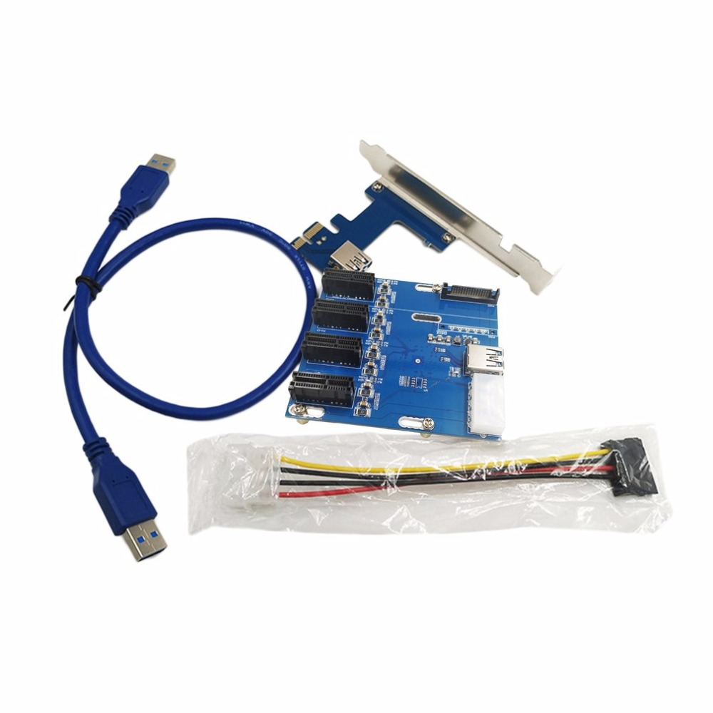 PCI-E to PCIe Riser Card 4PIN USB3.0 PCI-E 1 to 4 PCIe Adapter 1 Drag 4 PCI-E 1X Expansion Card 4-port PCIe Slot free shipping 1pcs pci e to sata3 0 pcie sata3 0 expansion card asm1061 support system startup