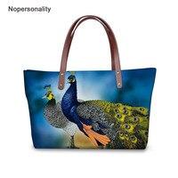 Nopersonality Neoprene Women Handbags with Beautiful Peacock Printing Fashion Travel Big Bag Portable High Quality Shopping Bag