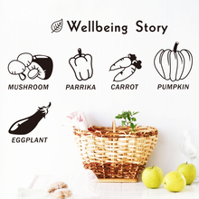 Art 2015 new design removable waterproof home decor delicious vegetables wall sticker cheap name quote decal for kitchen