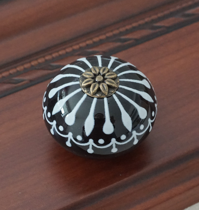 Керамическая ручка/ручки для комода белого и синего цвета, ручки для шкафа/уникальная ручка для кухонной двери, мебельная фурнитура - Цвет: Черный