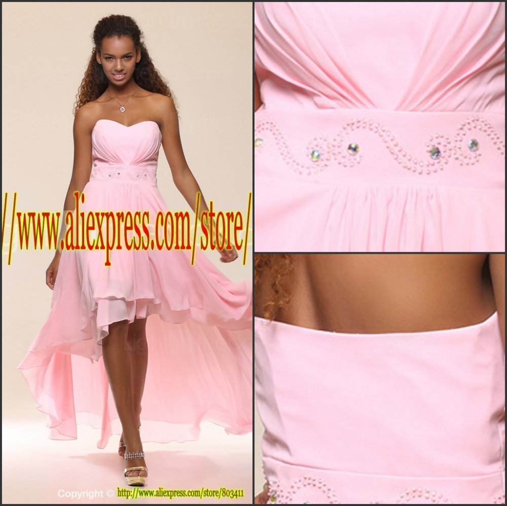 Free Shipping Custom Made Short Front and Long Back Chiffon Prom Dresses