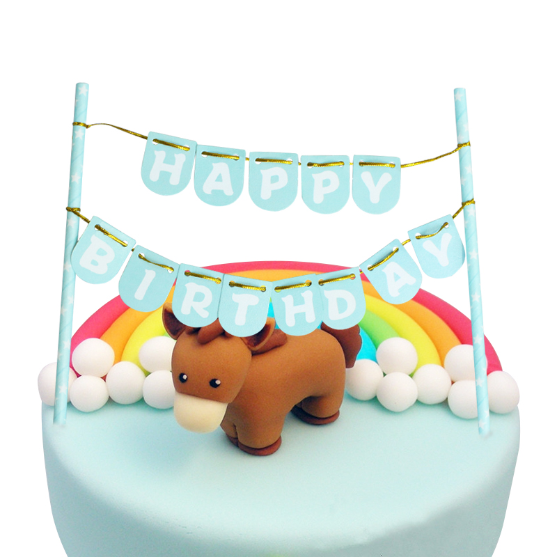 Baby Shower Light Green Color Happy Birthday Cake Bunting Banner Kit Topper DIY Ake Flags