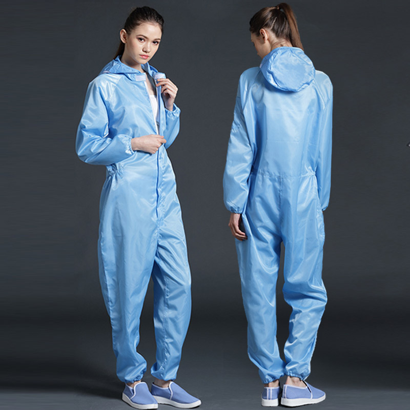 Image 5 - Anti static Coveralls Clean Clothes Hood Cleanroom Garments Clean food Dust proof Paint Work Clothing Unisex Protective overalls-in Safety Clothing from Security & Protection