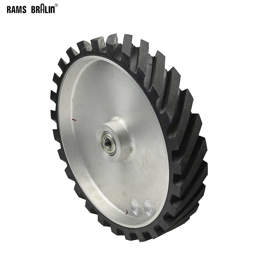 300*50mm Grooved Rubber Contact Wheel Dynamically Balanced Belt Grinder Sanding Belt Set For Metal Grinding