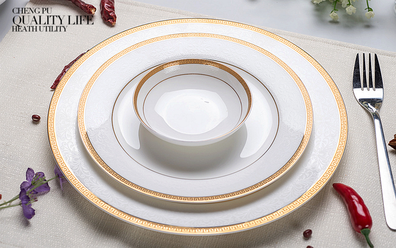 3pcs/lot, 10 & 8 & 4 inch, real bone china dinner plate set, white porcelain plate, dishes for restaurant, white porcelain tray