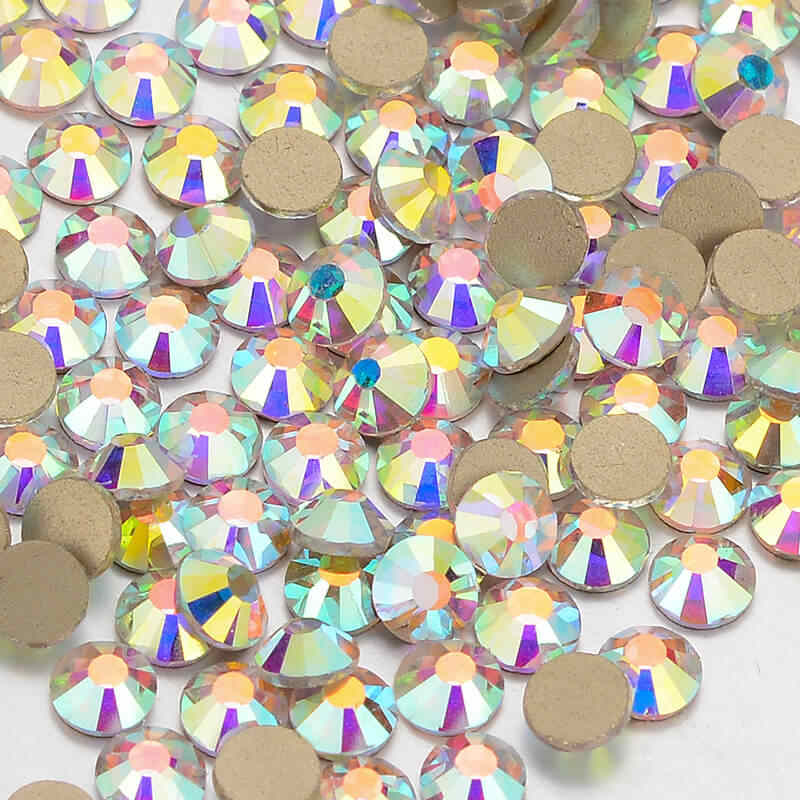 Clear Crystal AB FlatBack Glass Rhinestones Non-HotFix for Nail Art  Decorations(Golden) fdf053df65cb