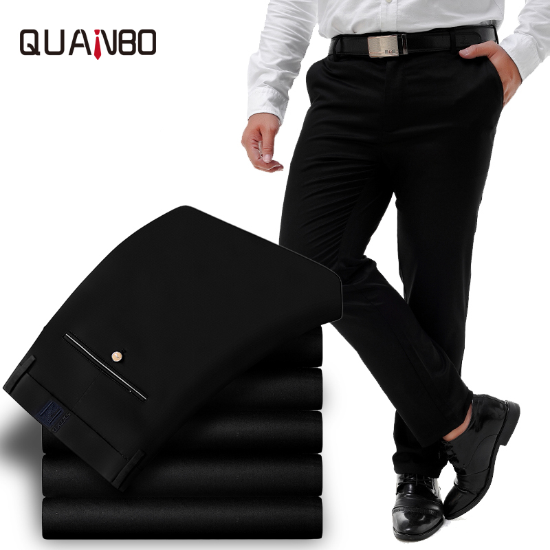 QUANBO Big Size 44 46 48 50 52 Mens Pants  Wrinkle Free Business Elasticity Casual Pants  Straight Slim Fashion Male Trousers
