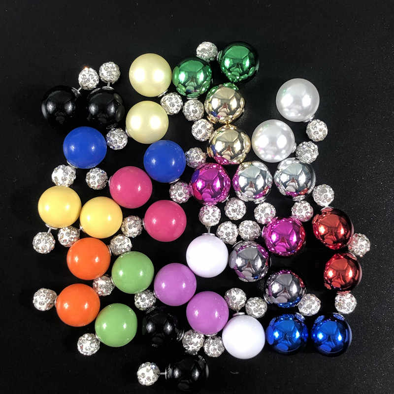 22 cores nova chegada dupla lados grandes brincos bola colorido shambhala shinning cristal grande pérola brincos femininos brincos