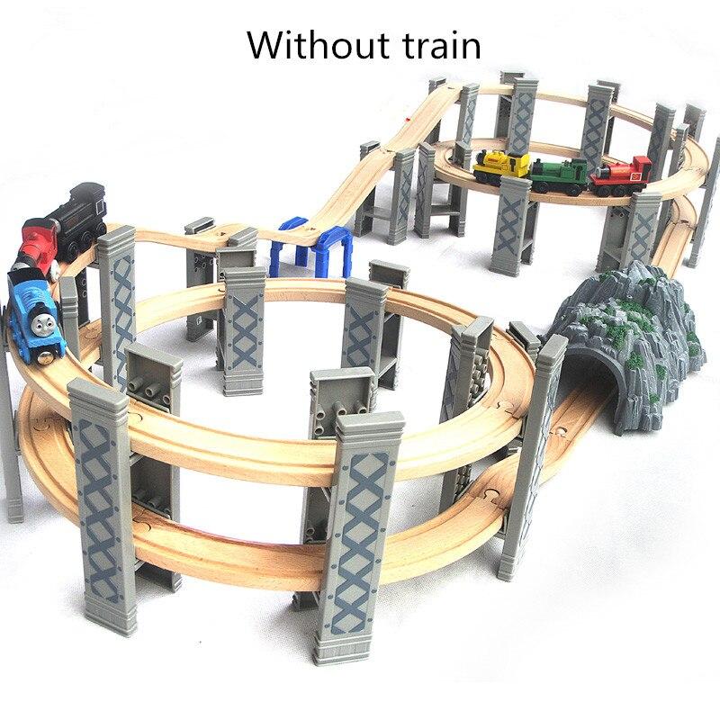 Thom en bois Train voie chemin de fer pont variété jouets éducatifs Tunnel croix pont en spirale jetée Compatible avec train magnétique