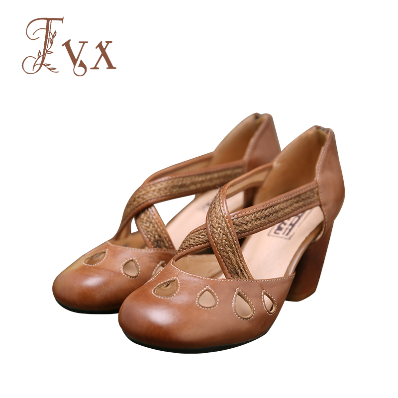 Tayunxing genuine leather handmade shoes high heel cross strap zipper women sandals comfort causal wood heel G11-66