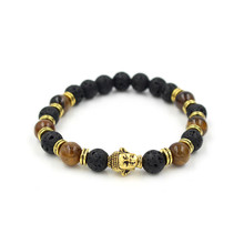 Men's Buddha Head Charm Bead Bracelet Elastic Natural Evil Eye Natural Tiger Eye Lava Stone Bracelet Mala Bead Yoga Jewelry