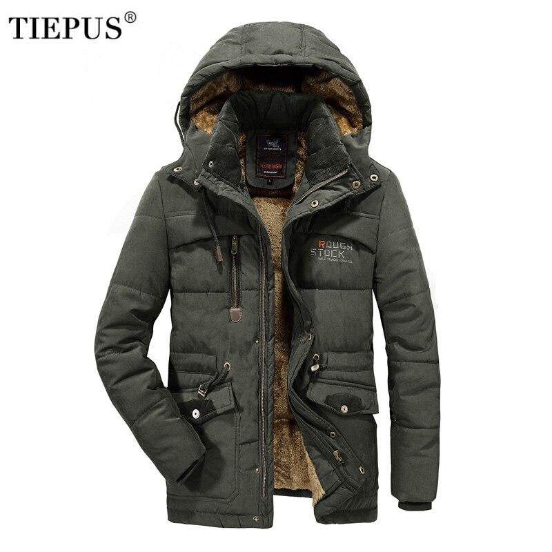 TIEPUS новая зимняя куртка для мужчин сплошной цвет с капюшоном Военная Униформа пальто человек плюс бархат Теплый пуховик парка мужской