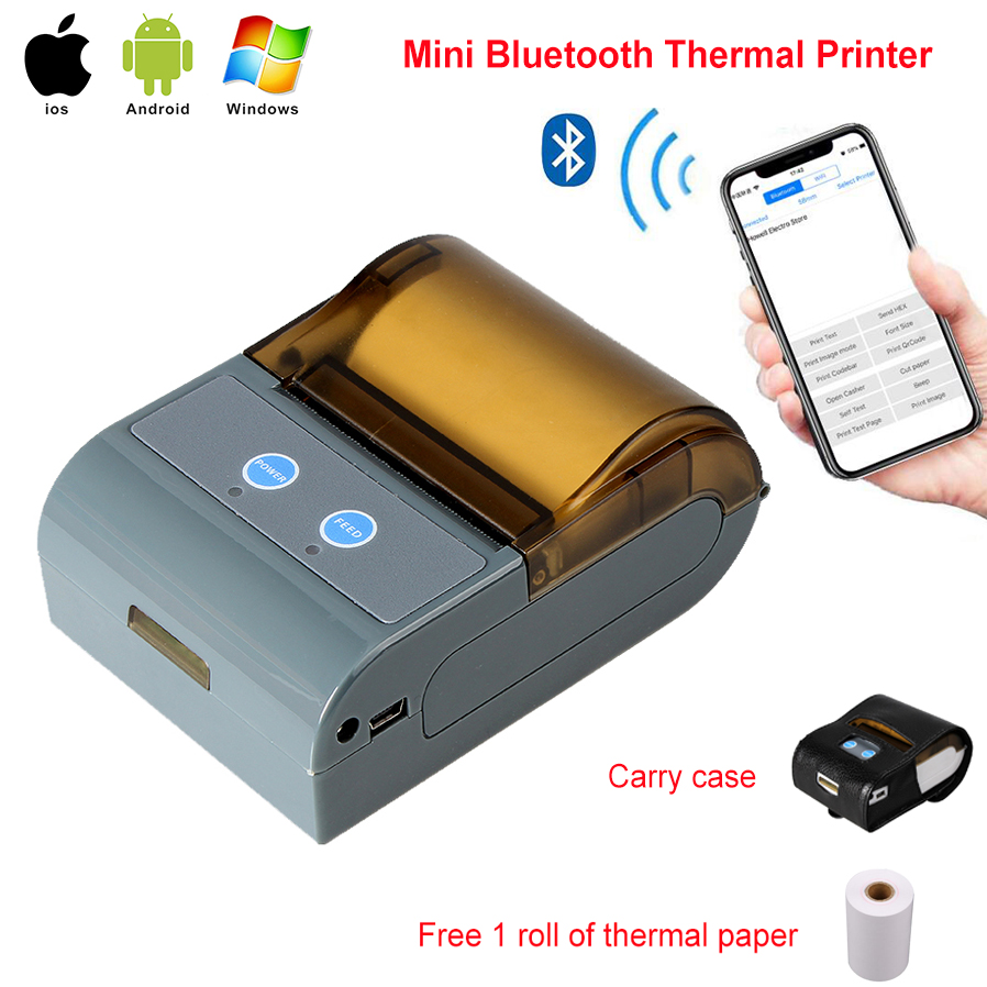 Portable 58mm Thermal Bluetooth Printer Bluetooth Receipt Printer bluetooth USB / serial port for Windows Android POS Printer bluetooth wireless 58mm thermal dot receipt printer usb serial port android pc compatible