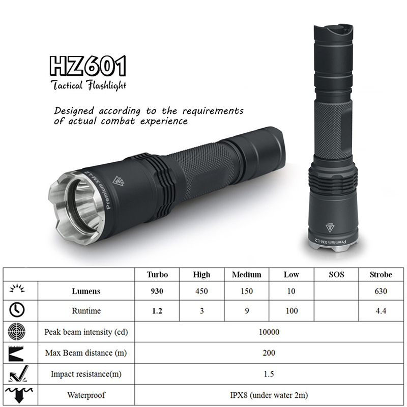 LED Tactical flashlight CREE XM-L2 rechargeable 18650 or 2*CR123A 100 hours 2 meters waterproof weapon light for Special forcesLED Tactical flashlight CREE XM-L2 rechargeable 18650 or 2*CR123A 100 hours 2 meters waterproof weapon light for Special forces