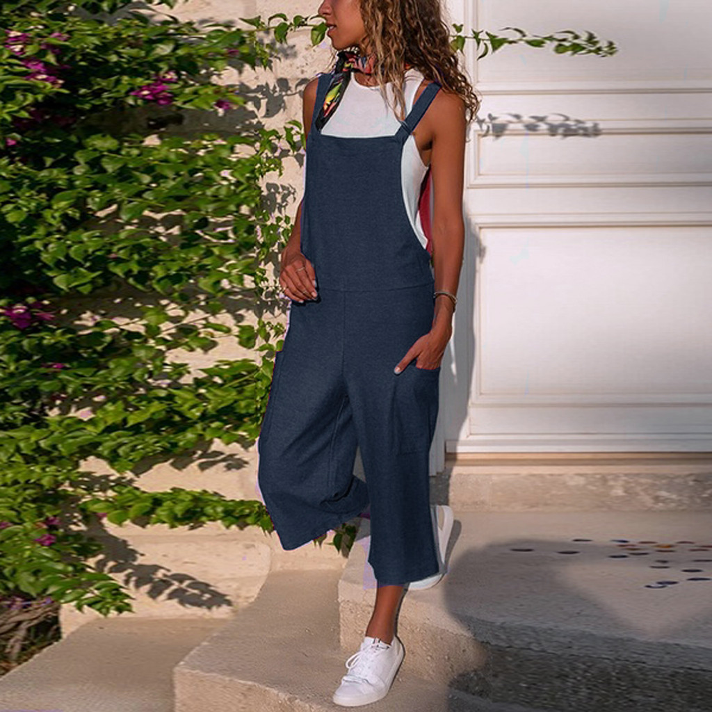 Women jumpsuit Sleeveless Dungarees Loose Cotton Linen bodysuit Long Playsuit Party Jumpsuit combinaison femme H50