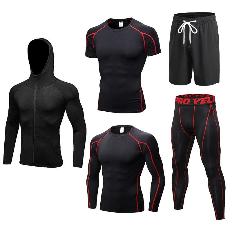 2019 nouveaux ensembles de course 5 pièces/ensembles Compression Crossfit Sportswear basket-ball formation collants Gym Fitness Jogging Sport costumes