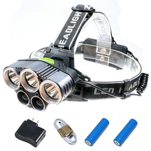 High Power 5 LED Headlight 15000 Lumens 3T6+2Q5 Camping LED Headlamp Professional Fishing Light 2×18650 USB Rechargeable Torch