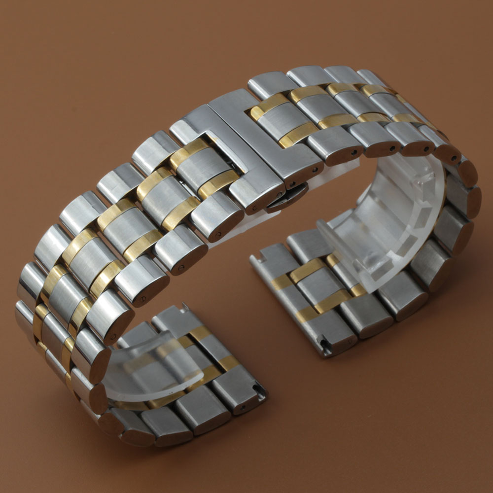 Watch band Strap Silver and gold Bracelet 18mm 20mm 22mm 24mm 26mm 28mm 30mm for quartz watches men hours accessories promotion 18mm 20mm 22mm 24mm canvas camouflage watch band strap for men women watches belt accessories wrist watch bracelet