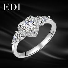 EDI Three Stone Heart Shape 6mm Moissanites Diamond 14k White Gold Engagement Ring For Women Wedding Bands Fine Jewelry