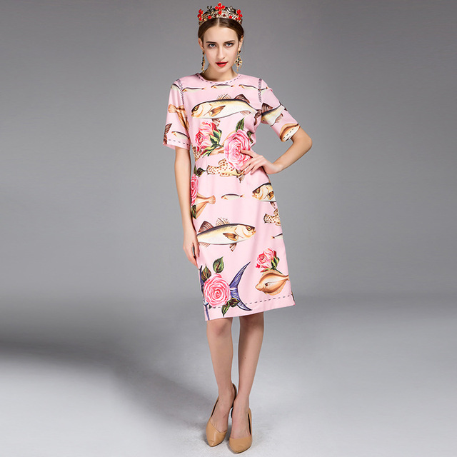 Fish Rose Printed Short Sleeve A line Dress