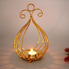 Nordic Style Candlestick Iron Geometric Candle Holders Wedding Home Decoration Centerpieces Holder Gold Lantern Crafts