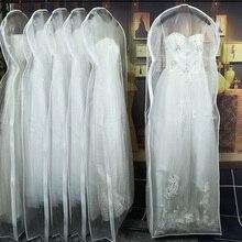 Двусторонний прозрачный тюль/вуаль свадебное платье пылезащитный чехол с боковой молнией для домашнего гардероба сумка для хранения платьев JD014