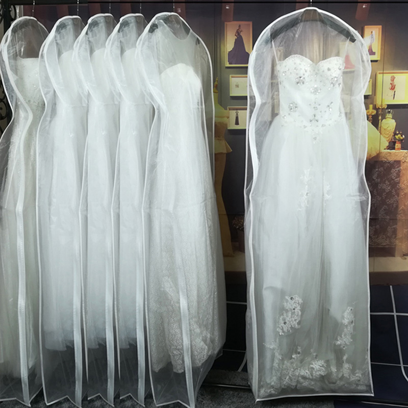 Double-sided Transparent Tulle/Voile Wedding Bridal Dress Dust Cover With Side-zipper For Home Wardrobe Gown Storage Bag JD014