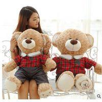 Miłość chłopiec, miłość dziewczyna sukienka sprawdź garnitur misia pluszowe zabawki miękkie rzut poduszki Walentynki prezent, prezent urodzinowy w5471