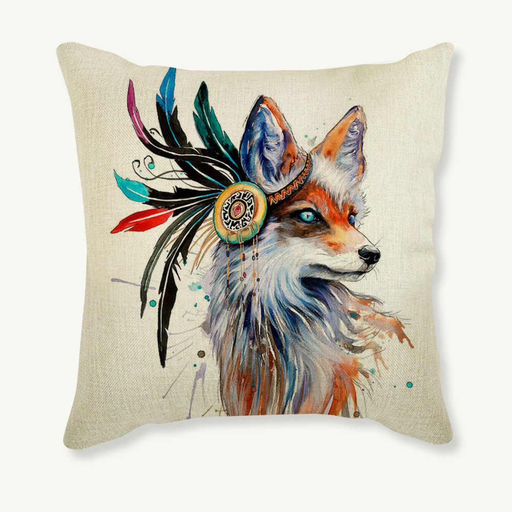 Color Fox Printed Throw Pillow Case Sofa Waist Decorative Cushion Cover Home Decor capas de almofada quality first