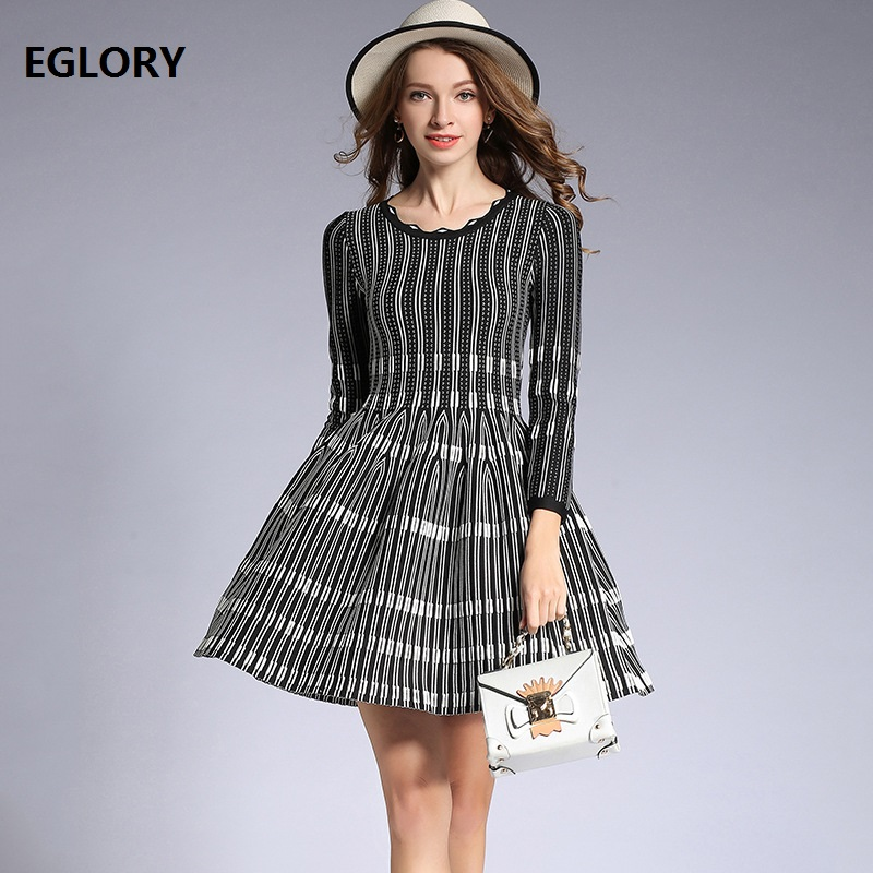 High Quality Dresses Women O-Neck Color Block Knitted Wrist Sleeve A-Line Casual Sweater Dress Pullovers Spring Slim Knit Dress cable knit a line sweater dress