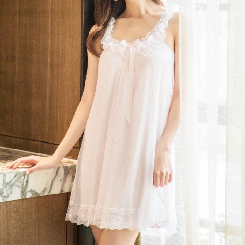 Nightgowns     Sleepshirts   2019 Lace Sleepwear Sexy Home Dress Spaghetti Strap Nightdress Modal Sleep & Lounge   Nightgown   Female