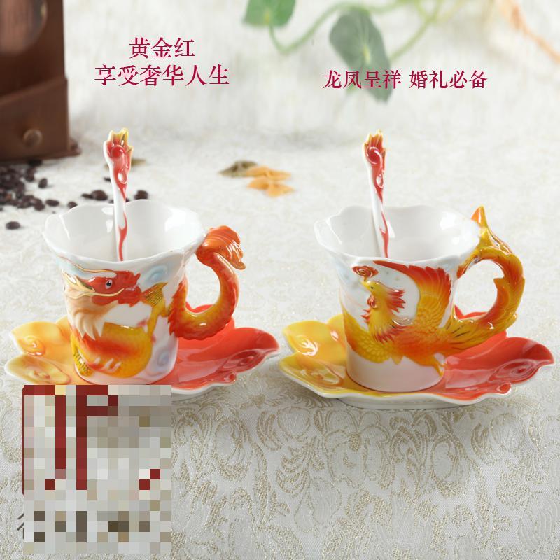 Creative <font><b>Ceramic</b></font> <font><b>Coffee</b></font> <font><b>Cup</b></font> <font><b>Couple</b></font> <font><b>Set</b></font> Wedding Anniversary Items European Bone China Of Red Tea <font><b>Milk</b></font> Breakfast Mug Free Shipping