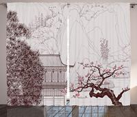 Cortinas asiáticas con formas de árboles y montañas de Sakura, templo religioso chino, Pagoda oriental, sala de estar, dormitorio, ventanas