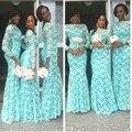 Elegant African Bridesmaid Dresses 2016 Dubai Dresses Plus Size Lace Bateau Neckline Nigerian Bridesmaid Gowns