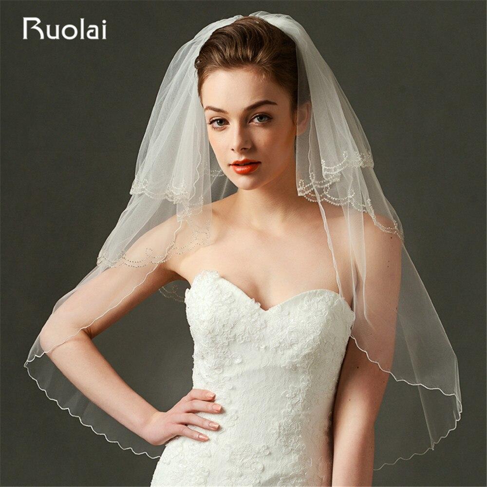 Elegant Two Layers Short Wedding Veil Beaded Edge Tulle