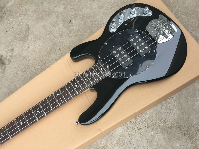 High quality black 4 string bass, built-in amplifier circuit, factory wholesale, provide the EMS delivery, m,u,s-i-c, m,a.n Bass
