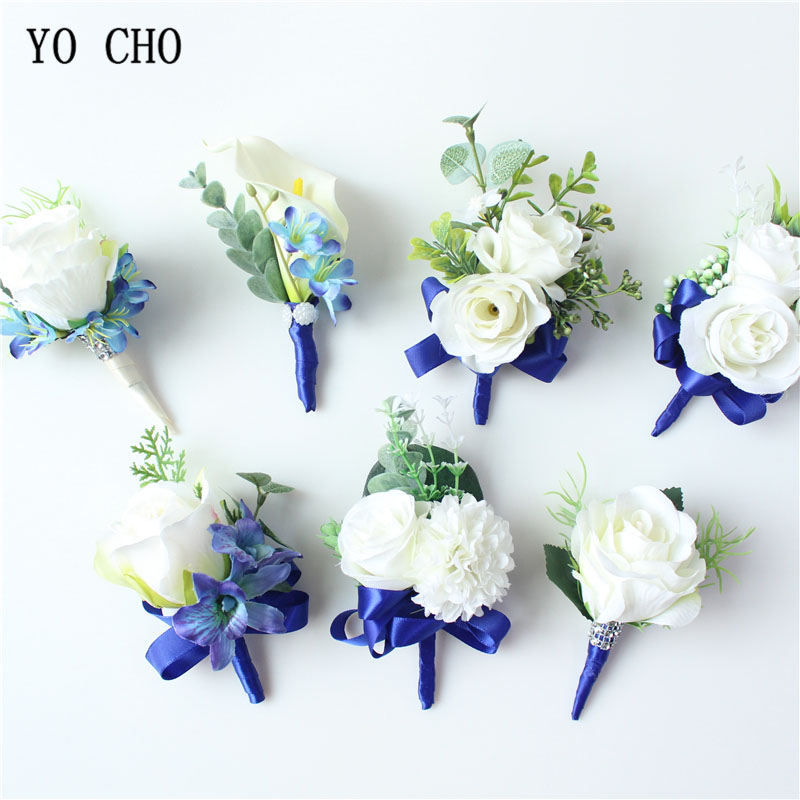 YO CHO Bride Wedding Corsage Groom Boutonniere White Blue Artificial Silk Rose Wrist Flower Bracelet Prom Party Meeting Decor