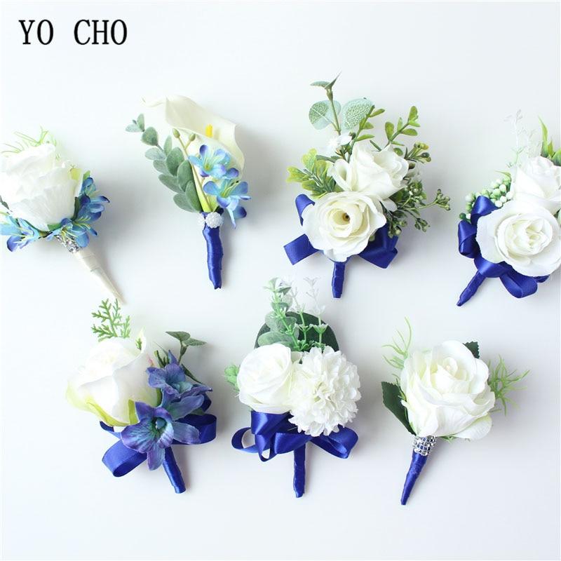 YO CHO Bride Wedding Corsage Groom Boutonniere White Blue Artificial Silk Rose Wrist Flower Bracelet Prom Party Meeting Decor
