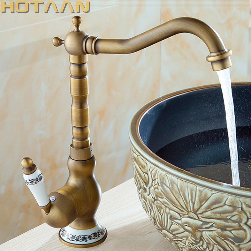 Antique Brass Basin Faucets Bathroom Sink Mixer Deck Mounted Single Handle Single Hole Bathroom Faucet Brass Hot and Cold Tap ulgksd basin sink faucet deck mounted mixer tap antique brass single handle bathroom faucet