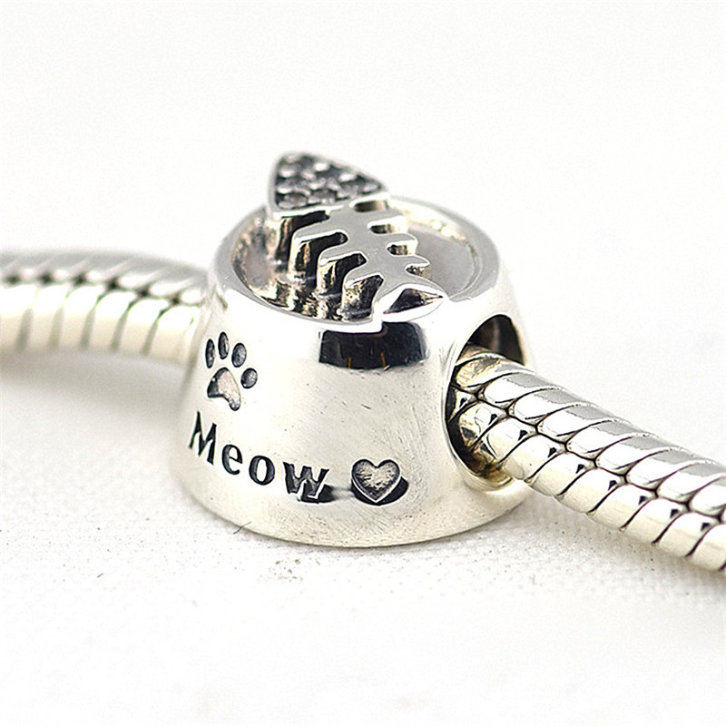 Fits Pandora Bracelet Charms Original 925 Sterling Silver Jewelry Cat Bowl Silver Charm Beads for Jewelry Making Wholesale FL248 strollgirl car keys 100% sterling silver charm beads fit pandora charms silver 925 original bracelet pendant diy jewelry making