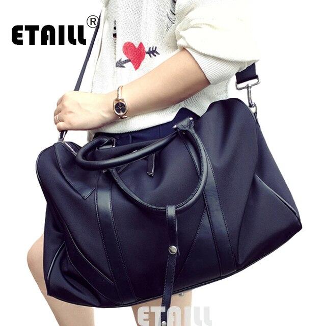 Brand Men Foldable Folding Nylon Tote Bags With Leather Handles Women S Messenger Las Handbag