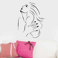 Fashionable Living Room Decorative Hand Painted Sexy Lady Wall Stickers PVC Waterproof Home Decor