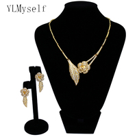 Wedding decoration Rose flower jewelry sets bisuteria luxury Necklace and earrings brinco 2 pcs sets Bridal jewellery