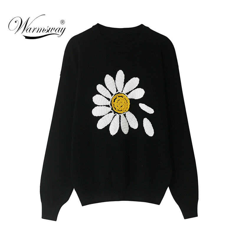 2020 Spring Women O-neck Sunflower 3D Crochet Knitted Sweaters Loose  Ladies Knit Pullovers C-089