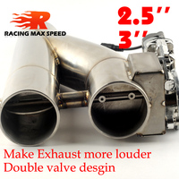 2.0 inch 2.5 inch 3 inch stainless Steel doubled valve Pipe Muffler Catback Bypass Exhaust Trim Down Tube Remote Control YTR
