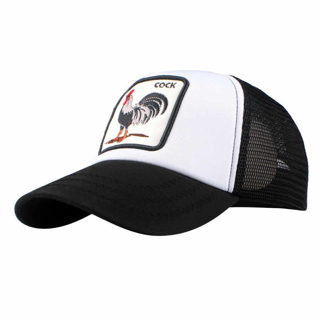d212fd5c37fe8 Cock Animal Embroidery Baseball Cap Men Women Snapback Caps Breathable Mesh  Hip Hop Hats Unisex Eat