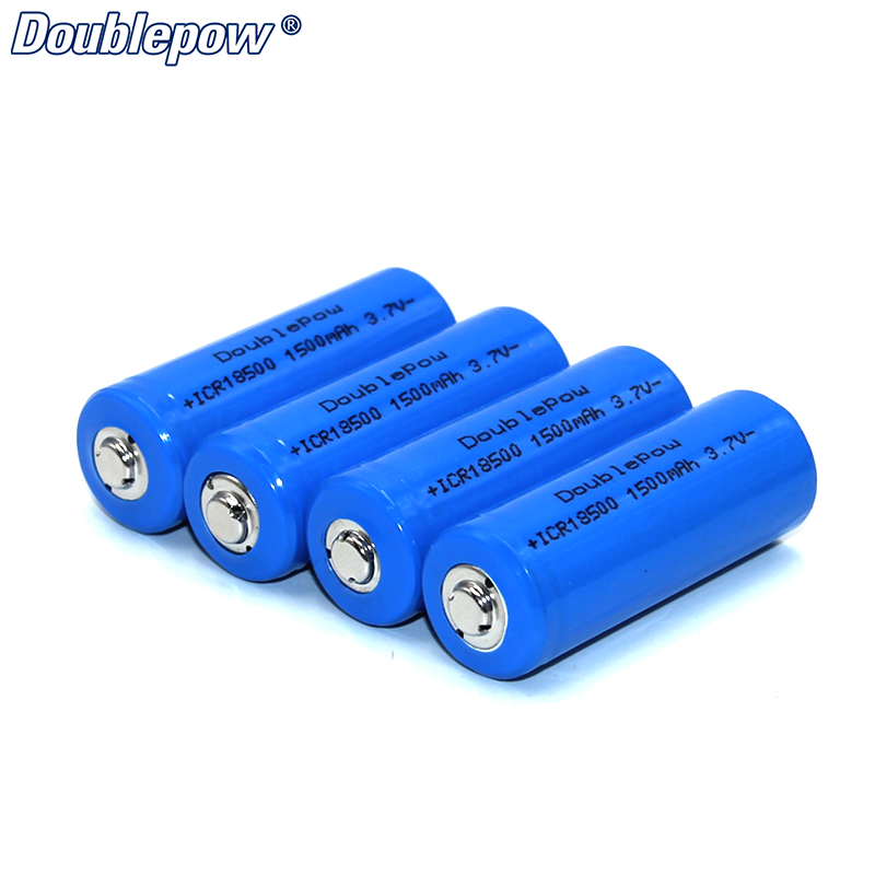 4pcs/Lot FREE SHIPPING Hot Sale Doublepow DP-18500 1500mA 3.7V Li-ion rechargeable battery 18500 HIGH CAPACITY FOR FLASHLIGHT