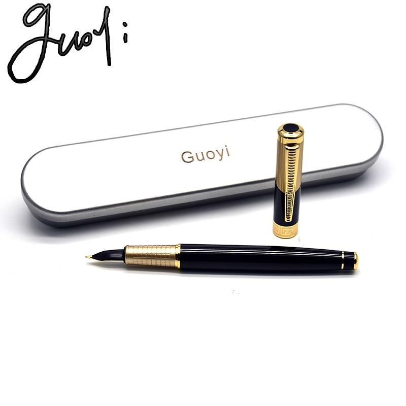 Guoyi Q8 retro guld bläckpenna 0,5 mm knäppning lärande kontor skolan brevpapper lyx penna hotell företag skrivpennan