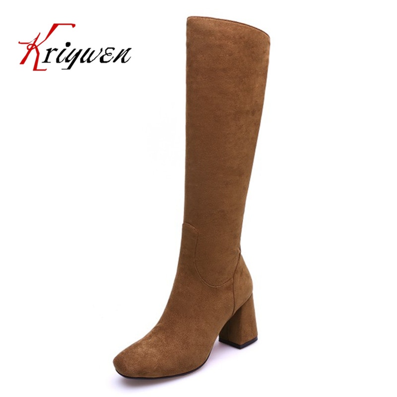 2017 New Women Boots  square toe Fashion Knee high Boots motorcycle Sexy Thick high Heel Boots Woman Shoes Black plus size 34-42 enmayer green vintage knight boots for women new big size round toe flock knee high boots square heel fashion winter motorcycle