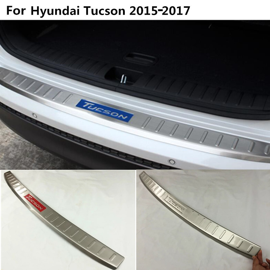 For Hyundai Tucson 2015 2016 2017 Car External outside Rear Bumper trim Stainless Steel Scuff plate pedal cover threshold 1pcs